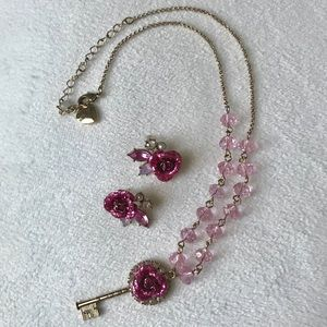 Betsey Johnson Rose Necklace and Earrings Set